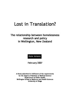 Lost In Translation The Relationship Between Homelessness Research And Policy Wellington New Zealand