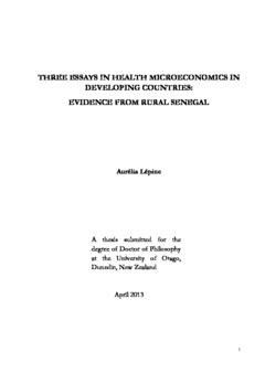 three essays in health microeconomics in developing countries  three essays in health microeconomics in developing countries evidence  from rural senegal